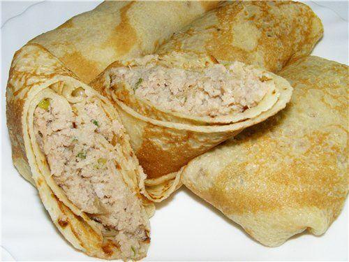 Блинчики с мясом рецепт с куриным пошагово
