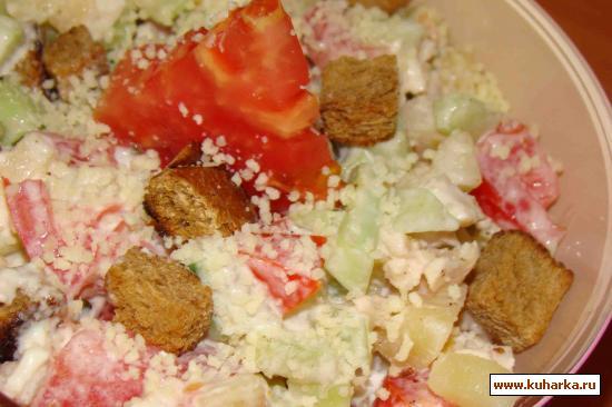 Приготовление салатов с курином мясом