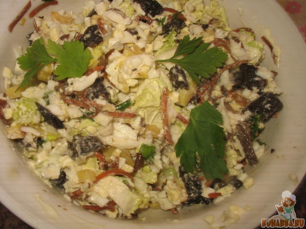 Салаты с сушеными грибами рецепты